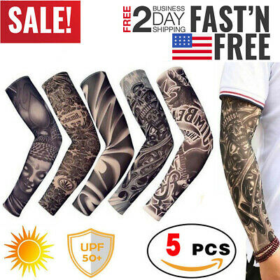 Tattoo Cooling Arm Sleeves Cover Basketball Golf Sport UV Sun Protection 5 pcs