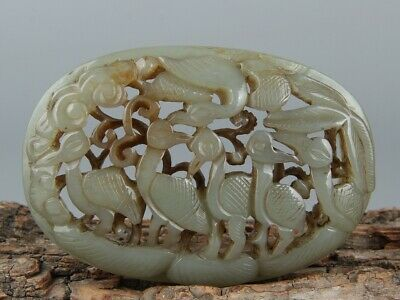 Chinese Exquisite Hand-carved crane Carving Hetian jade Pendant