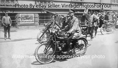 1918 Antique Police/Cop Indian Motorcycle With Sidecar Mounted Machine Gun Photo