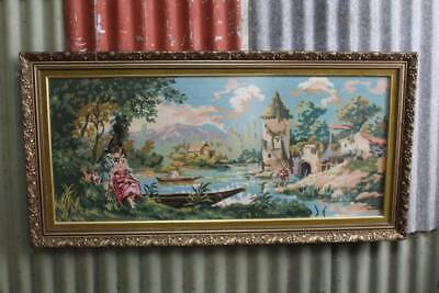 A Large Vintage Gilt Framed Tapestry with Non Reflective Glass 1.2m