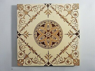 Antique Original Tile Washstand Fireplace Wash Stand Victorian Cream Flower