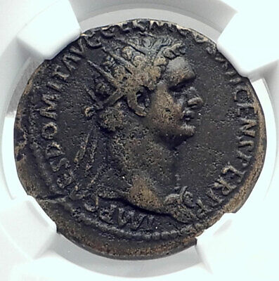 DOMITIAN Authentic Ancient 86AD Rome Dupondius Roman Coin VIRTUS NGC i79205