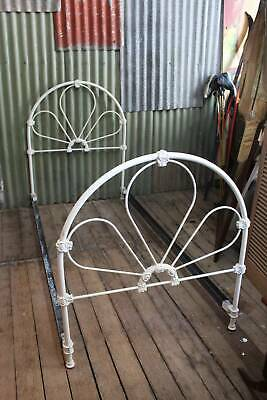 A Vintage White Cast Iron Single Bed