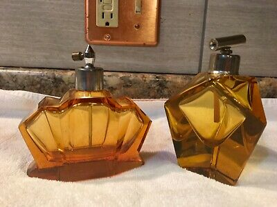 Antique Vintage Amber Glass Perfume Cologne Bottle LOT OF 2
