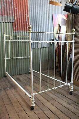 An Antique Victorian Cast Iron & Brass White Single Bed 1.4m High
