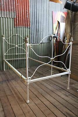 A Decorative Antique Victorian Cast Iron & Brass White Single Bed