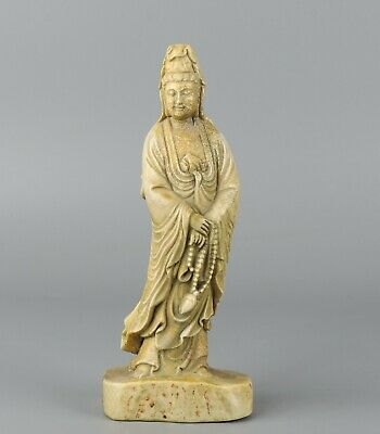 Chinese Exquisite Hand-carved Guanyin Carving antlers statue