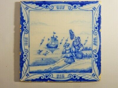 Antique Original 1700's Holland Delft Blue Tile Washstand Fireplace Wash Stand