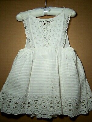 Antique white cotton fancy sundress or pinafore young girl