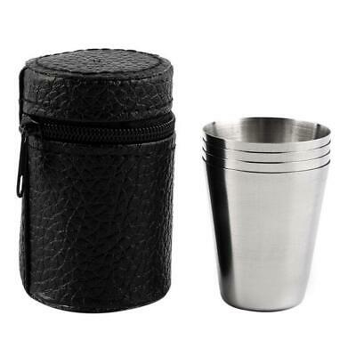 4Pc Portable Stainless Steel Shot Glass Cup Drinking Mug + PU Leather Cover Case