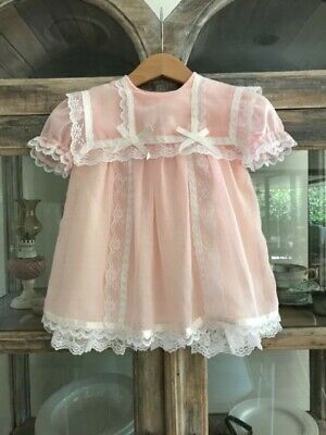 1970's vintage toddler sheer Gunne Sax pink party dress with lace & petticoat