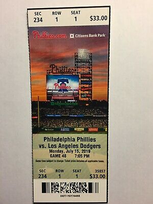 Philadelphia Phillies Vs Los Angeles Dodgers July 15, 2019 Ticket Stub