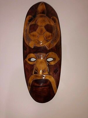 Polynesian Hand Carved Wood Tribal Mask Made in Fiji