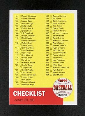 2019 TOPPS LIVING SET # CL-02 CHECKLIST 101-200 *Short Printed! SP