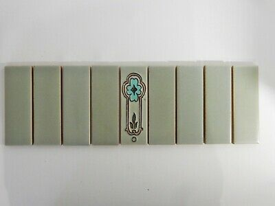 Antique Set of 9 Original England Tiles Washstand Wash Stand Art Deco Tube Lined
