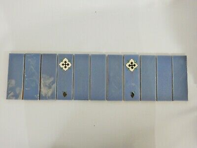 Antique Set of 11 Original England Tiles Washstand Wash Stand Art Deco Blue Tube