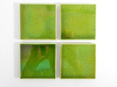 Antique Set of 4 Small England Tiles Washstand Wash Stand Green Majolica Nouveau