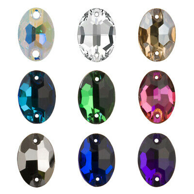Oval Glass Strass Flatback Sew On Rhinestone Stones Cristal for Craft Clothes