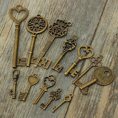 AUS 12Pcs Assorted Antique Vintage Large Royal Bronze Pendants Key