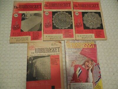 Lot of 5 The Workbasket Magazines Vintage Mixed lot of items to Knit, Crochet,