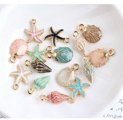 15 Pcs/Set Mixed Shell Conch Starfish Alloy Charms Pendants DIY Jewelry Findings