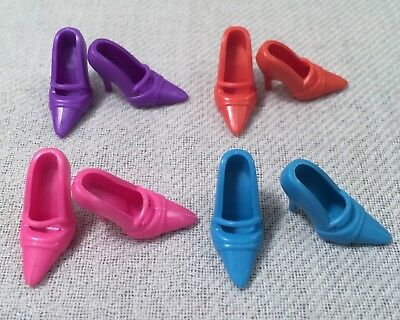 Barbie Shoes Lot Four Pair Of Mary Jane Hi Heels Pumps: Purple Red Pink Blue 42
