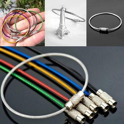 6pc Stainless Steel Wire Key Ring Chains Keychain Cable for Outdoor Hiking
