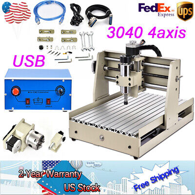 CNC Router 4 axis 3040 400w Engraving Milling Machine Engraver 3D Cutter USB VFD