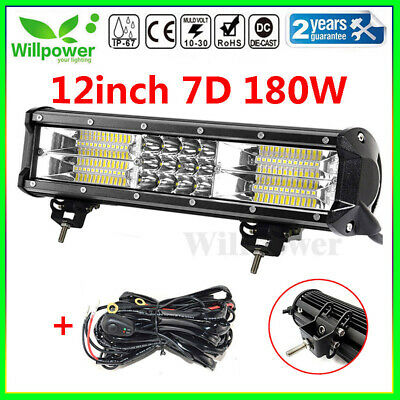 12inch 180W Tri Row Led Work Light Bar for JEEP Car Off road SUV +Wiring Harness