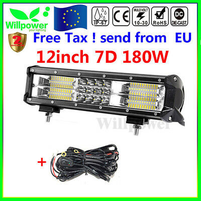 7D 12inch 180W Tri Row Led Work Light Bar Truck Car Off road SUV +Wiring Harness