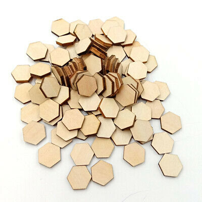 200x Wooden Slices Hexagon Cutout Tags Discs Embellishment Craft 15mm