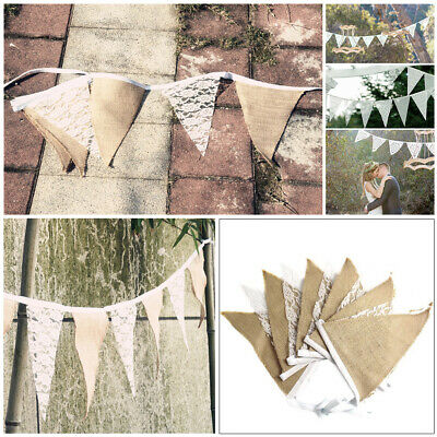 Fabric Hessian and Lace Bunting Wedding Party Banner Decoration Flags Birthday
