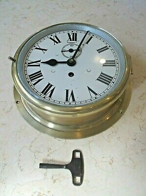 Extra Large Brass / Steel Ships Clock In Good Working Order +