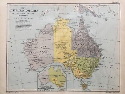 1912 Antique map - The Australian Colonies in the XIXth Century - Stanford