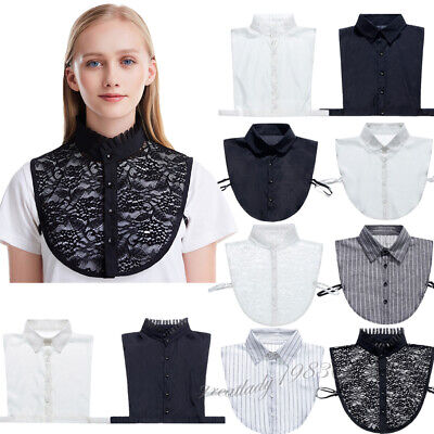 Women Fake Collar Vintage Detachable Half Shirts False Choker Peter Pan Lapel