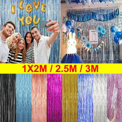 2M-3M Fringe Tinsel Shimmer Foil Curtain Door Wedding Birthday Party Decorations
