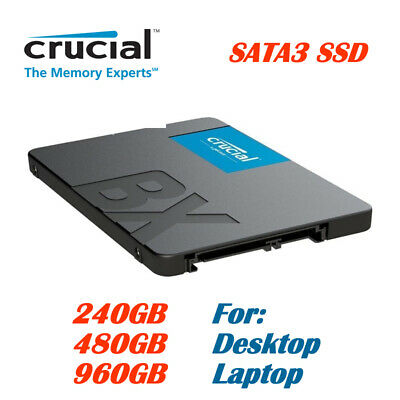 Crucial BX500 Solid State Drive 240GB, 480GB, 960GB SSD for Laptop Desktop PC