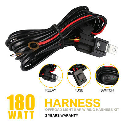 Wiring Harness LED Light Bar 40Amp 12V Relay Fuse ON-Off Switch 2 Lead 10FT 180W
