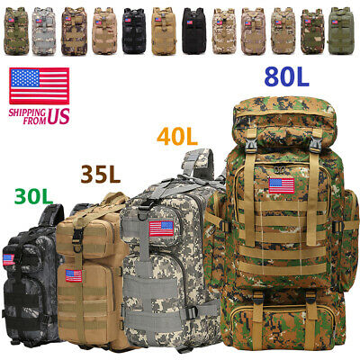 30L/40L/80L Outdoor Military Rucksack Tactical Backpack Camping Hiking Trek Bag