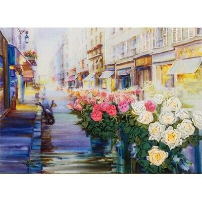 Flowers Of Paris Printed Dimensional Embroidery & Ribbon Embroidery Kit JK-2021