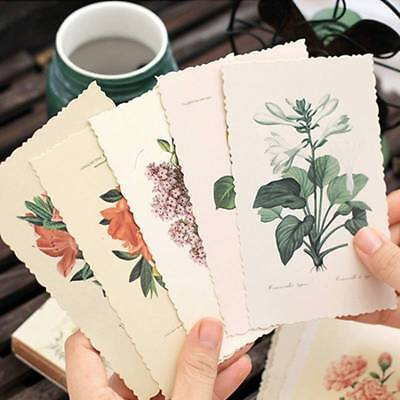 30Pcs/Box Vintage Flower Card Postcard DIY Greeting Card Note Cards Bookmark  US