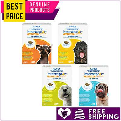 Interceptor Spectrum 6 Doses for Dogs All Sizes Heartworm Worm Prevention