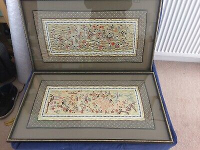 Beautiful Chinese Pictures In Frames - Silk Dragons 80cmx 46cm Vgc
