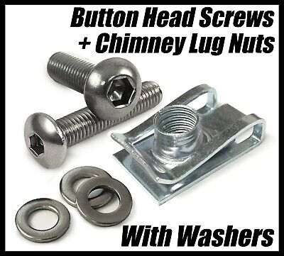M4 M5 M6 M8 Chimney Lug Nuts With Button Head Screws & Washers Panel Fix Clips