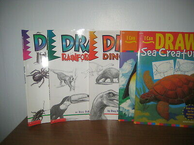 5 Draw art instruction books/scholastic/ animals/insects/dinosaurs/Walter Foster