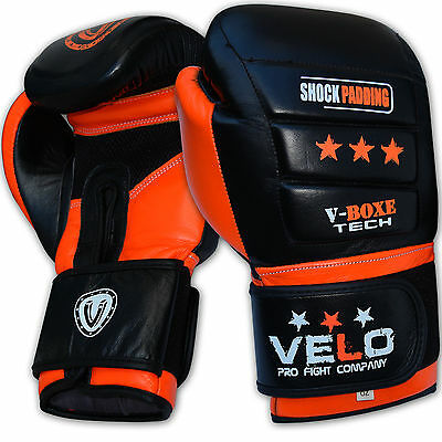 VELO Boxing Gloves Leather Gel Fight Punch Bag MMA Muay thai Pads Sparring