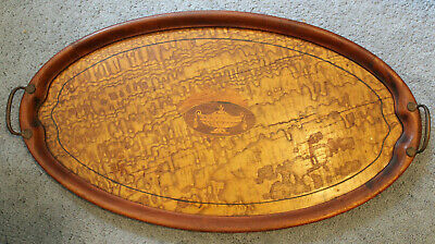 Antique Victorian Inlaid Wooden Serving Tray Brass Handles Marquetry OVER 2 ft.