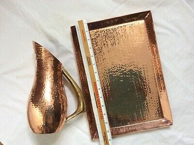 Lot 2pcs Solid Copper Hammered Hourglass Wine Jug Vase brass handle Serving tray