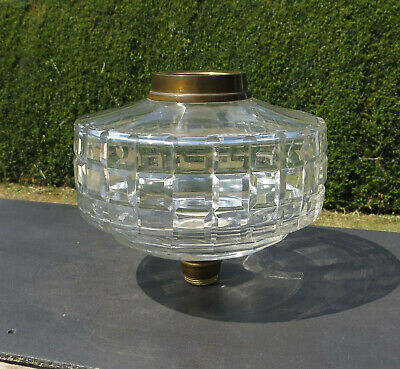 Antique Heavy Cut / Faceted Glass Oil Lamp Font / Fount - Dupex Screw Collar