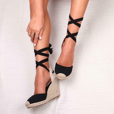 Meghan Black Canvas Closed Toe Espadrille Wedge With Cream Tie Up Straps